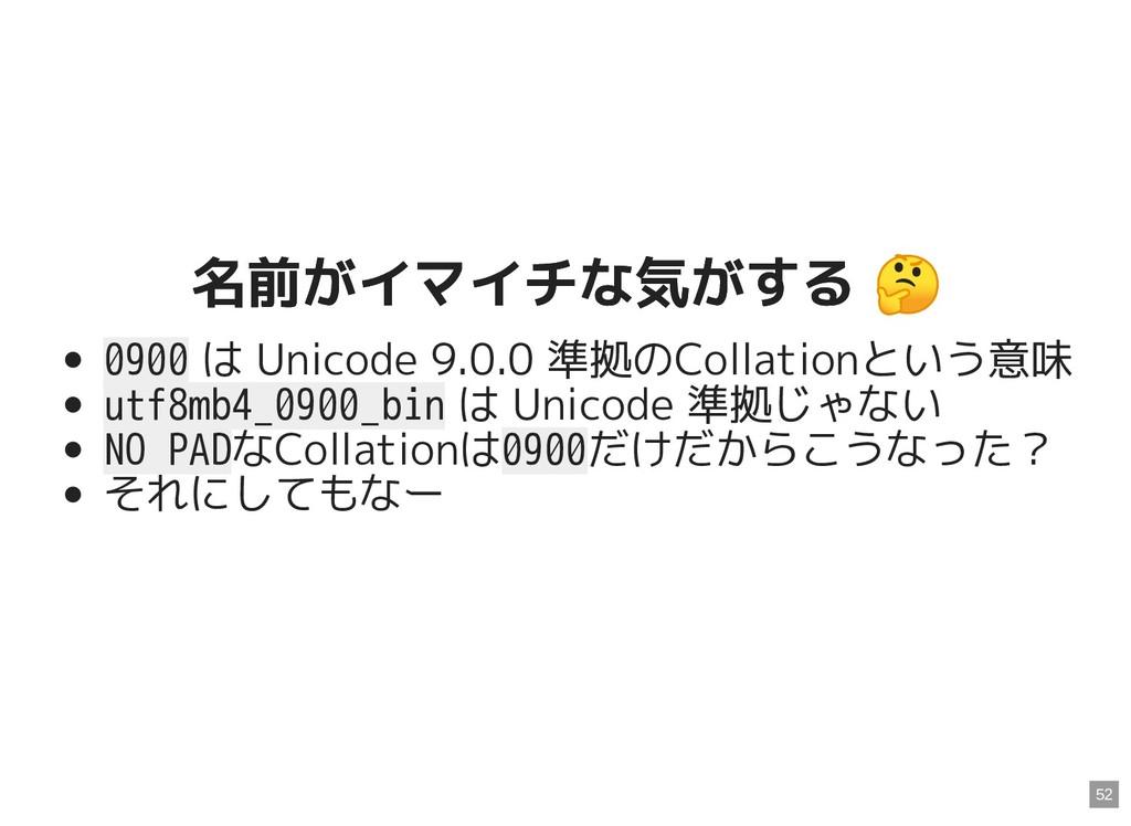 名前がイマイチな気がする  名前がイマイチな気がする  0900 は Unicode 9.0....