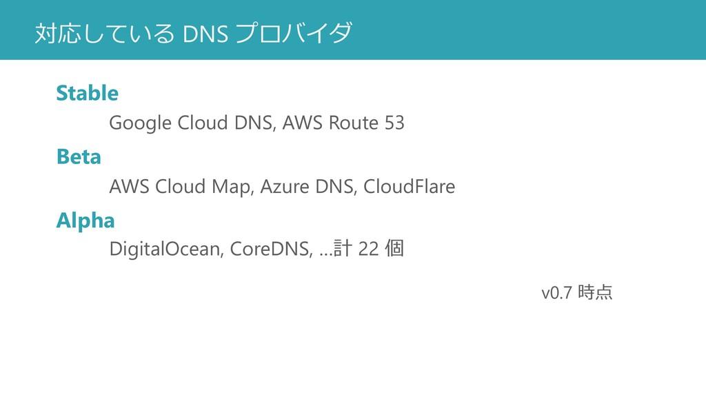 対応している DNS プロバイダ Stable Google Cloud DNS, AWS R...