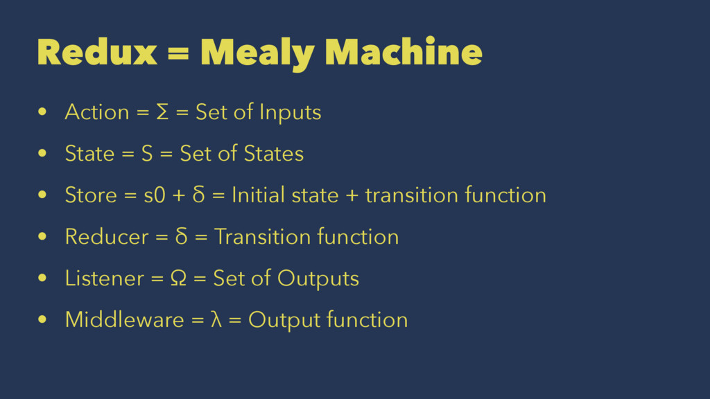 Redux = Mealy Machine • Action = Σ = Set of Inp...