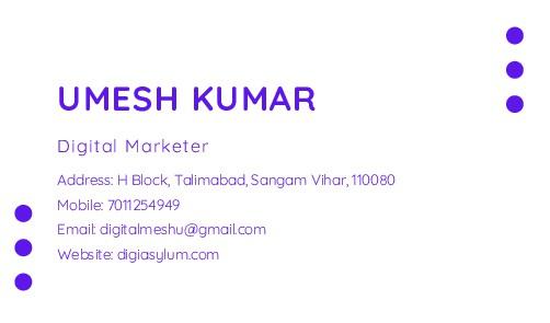 UMESH KUMAR Address: H Block, Talimabad, Sangam...
