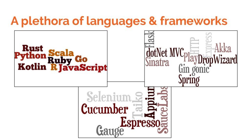 A plethora of languages & frameworks