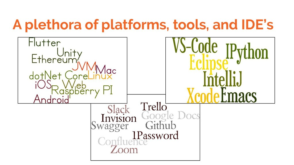 A plethora of platforms, tools, and IDE's