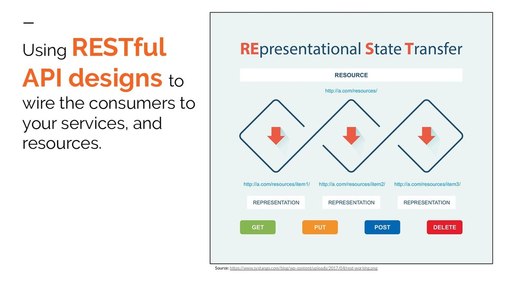Using RESTful API designs to wire the consumers...