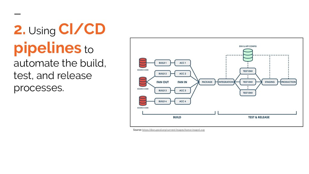 2. Using CI/CD pipelines to automate the build,...