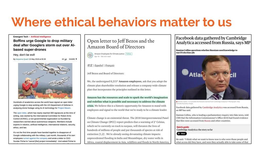 Where ethical behaviors matter to us