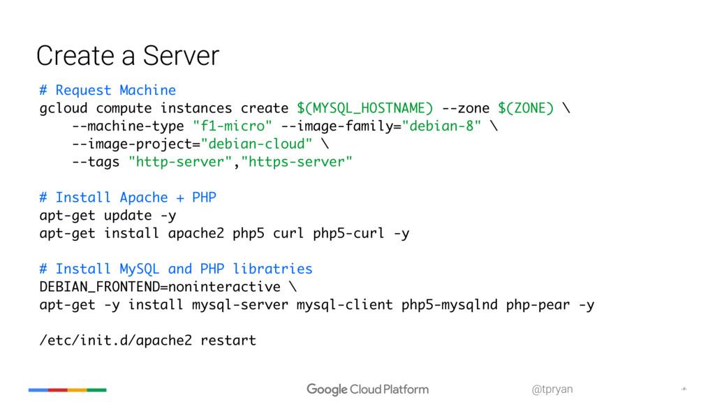 ‹#› @tpryan Create a Server # Request Machine g...