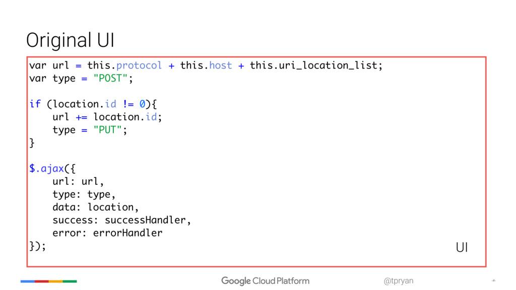‹#› @tpryan Original UI var url = this.protocol...