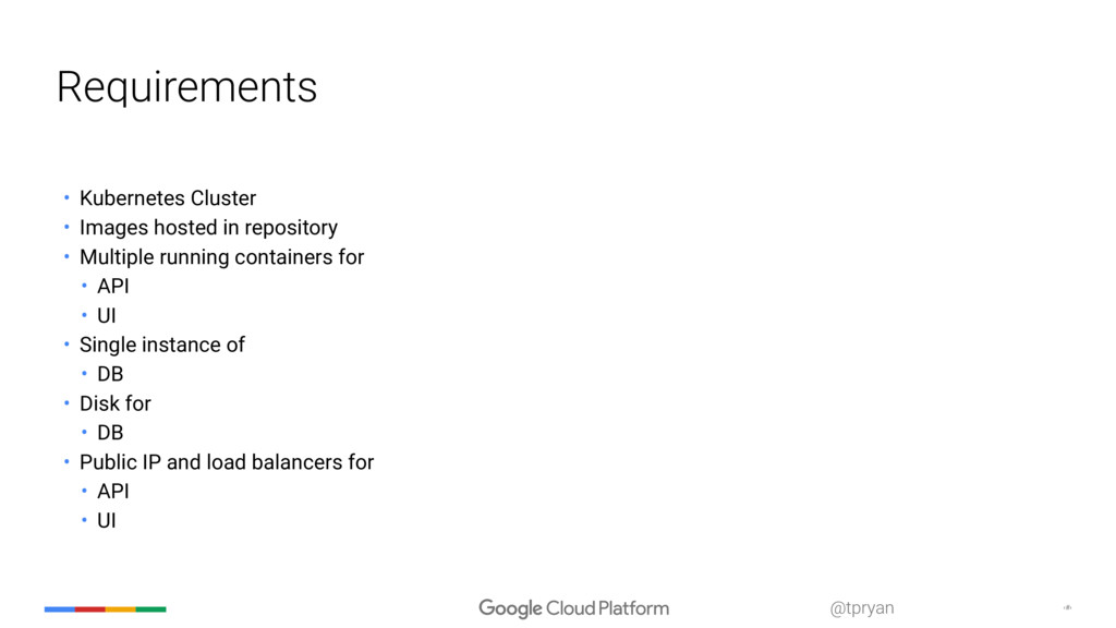 ‹#› @tpryan Requirements • Kubernetes Cluster •...