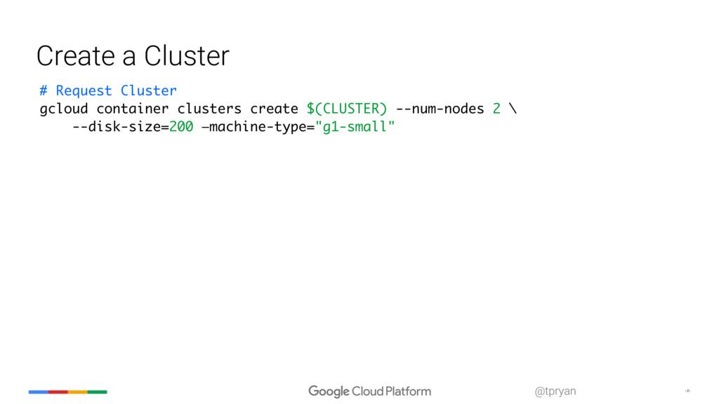 ‹#› @tpryan Create a Cluster # Request Cluster ...