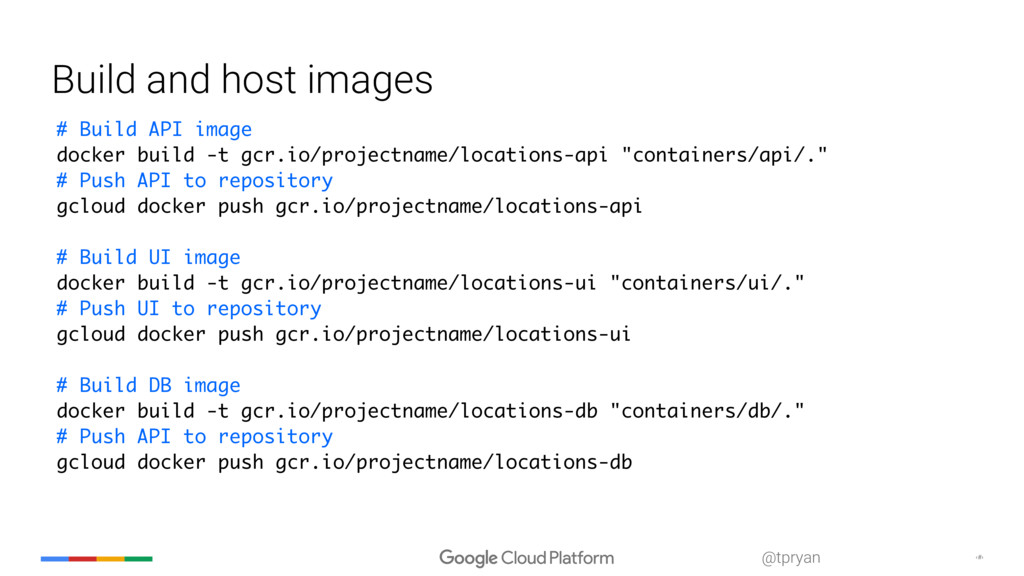‹#› @tpryan Build and host images # Build API i...