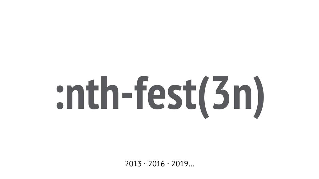 :nth-fest(3n) 2013 ∙ 2016 ∙ 2019…