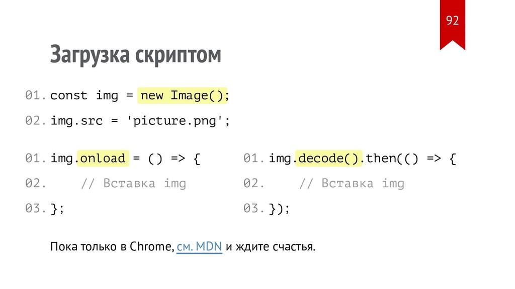 new Image() onload decode() Загрузка скриптом c...