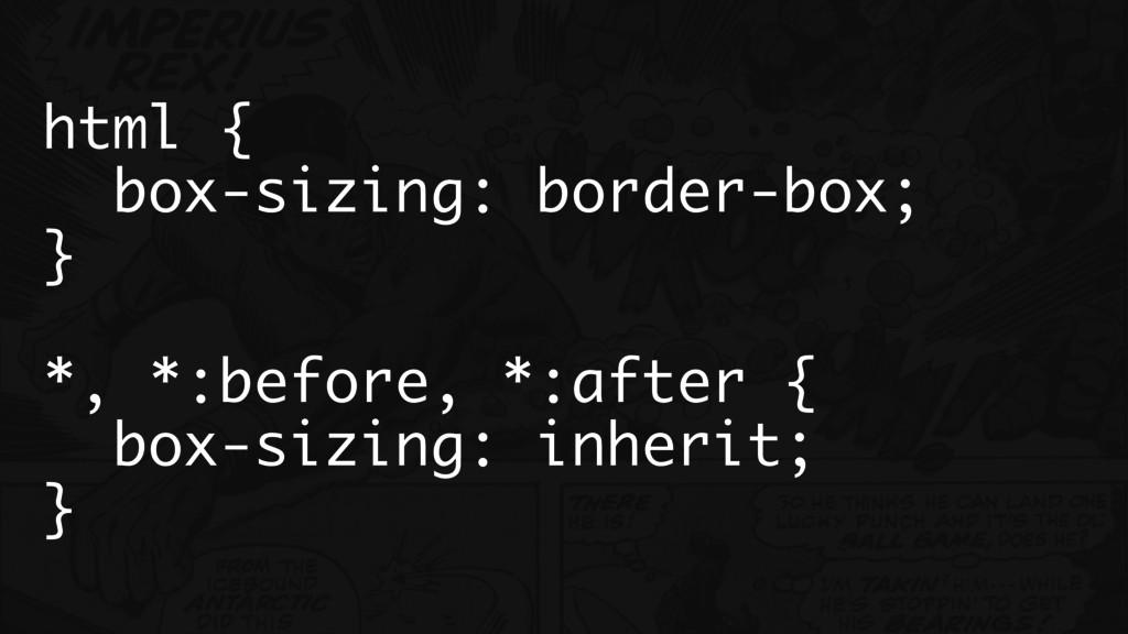 html { box-sizing: border-box; } *, *:before, *...