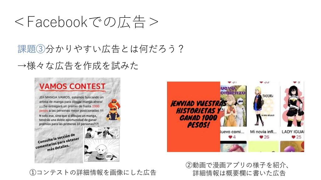 <Facebookでの広告> ①コンテストの詳細情報を画像にした広告 ②動画で漫画アプリの様⼦...