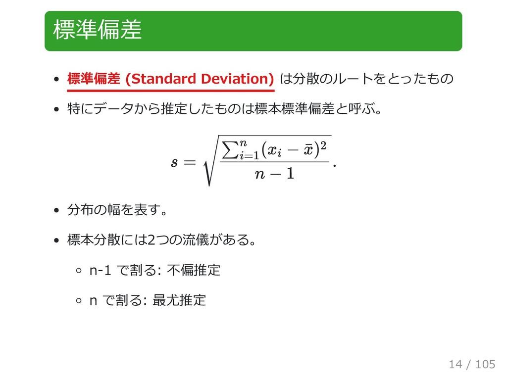 標準偏差 標準偏差 (Standard Deviation) は分散のルートをとったもの 特に...