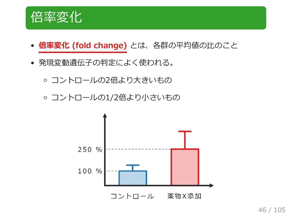 倍率変化 倍率変化 (fold change) とは、各群の平均値の比のこと 発現変動遺伝子の...