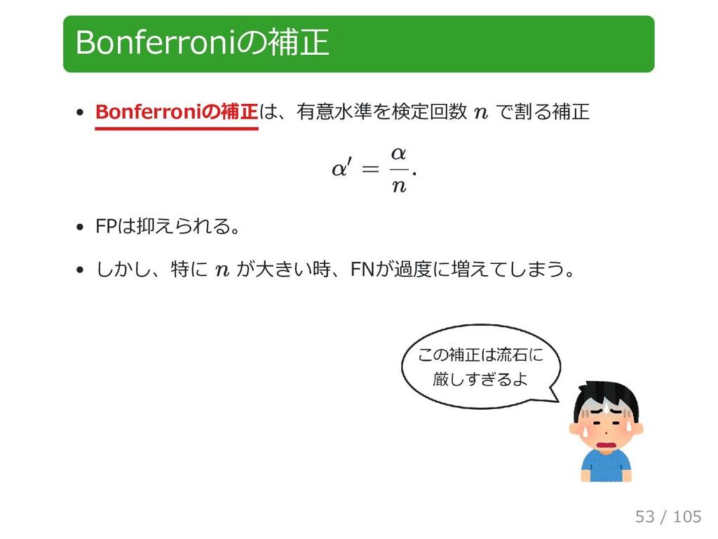 Bonferroniの補正 Bonferroniの補正は、有意水準を検定回数 で割る補正 FP...
