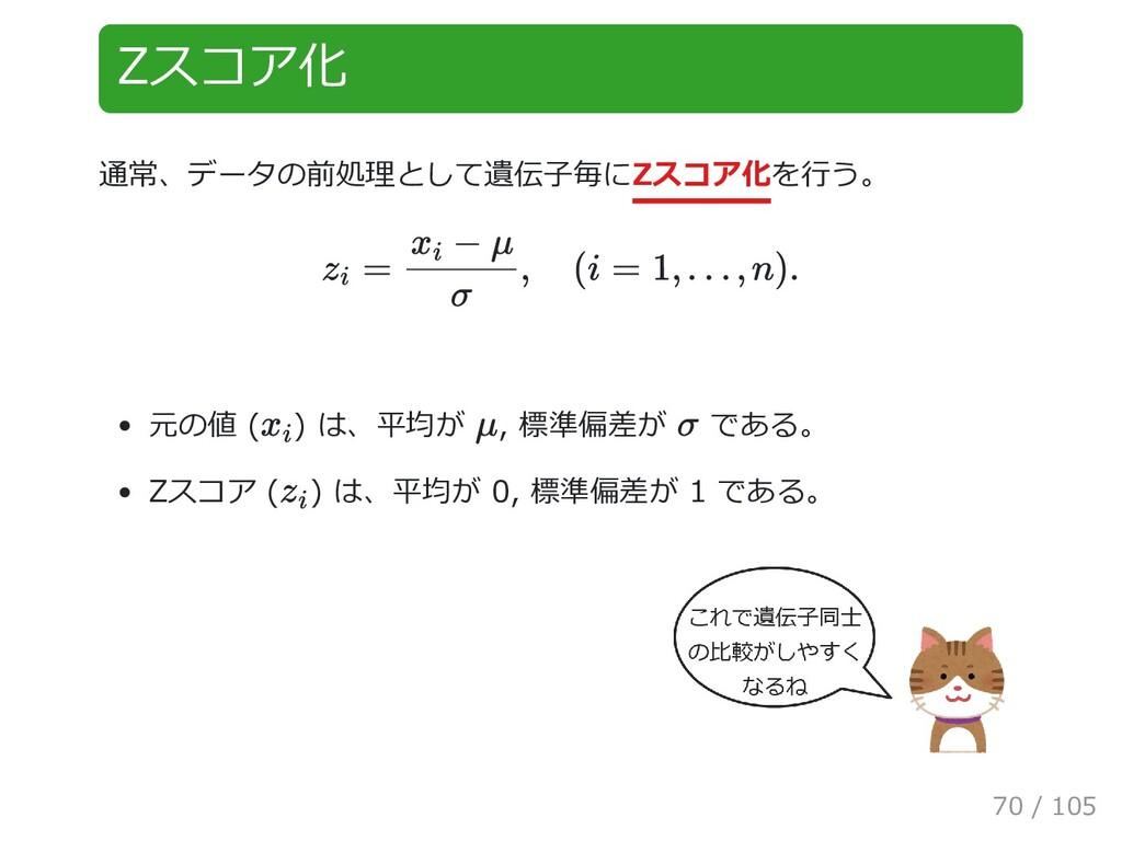 Zスコア化 通常、データの前処理として遺伝子毎にZスコア化を行う。 元の値 ( ) は、平均が...