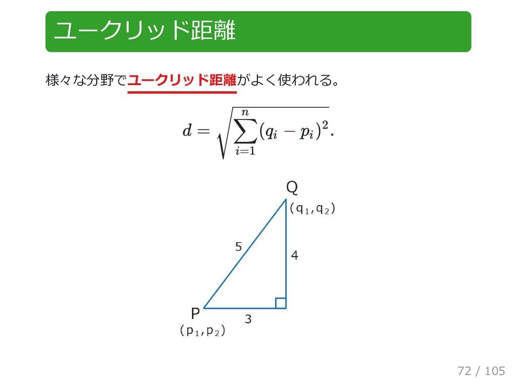 ユークリッド距離 様々な分野でユークリッド距離がよく使われる。 d = . ( − ∑ i=1...