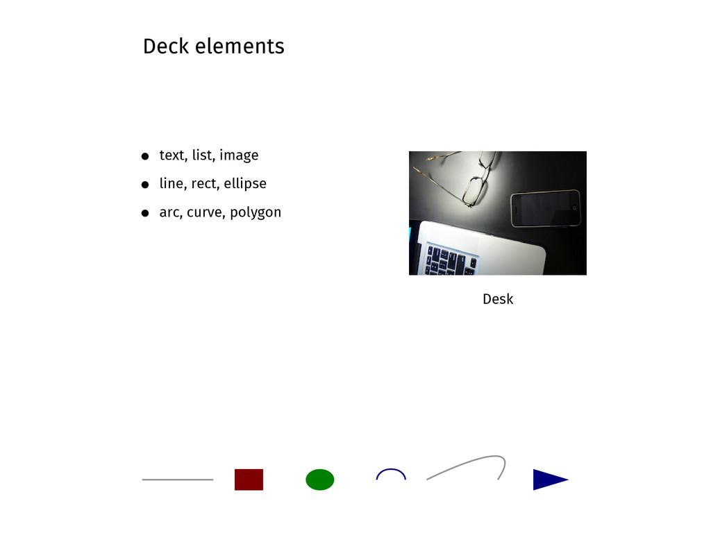 Desk Deck elements text, list, image line, rect...