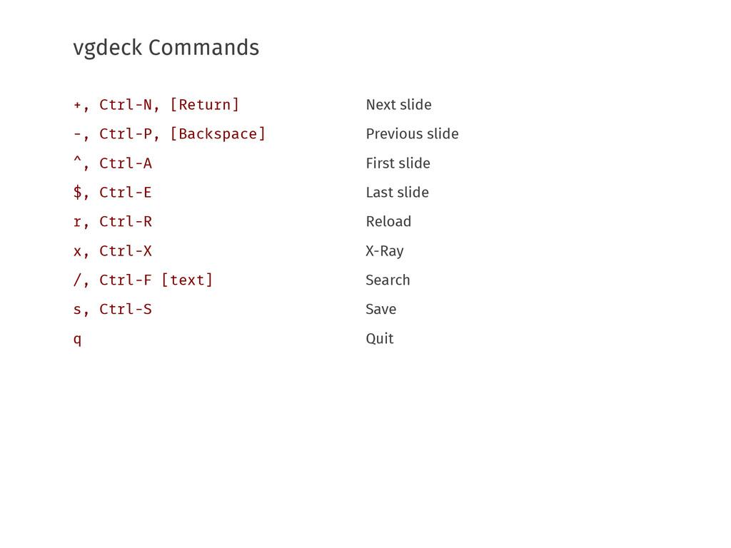 vgdeck Commands Next slide Previous slide First...