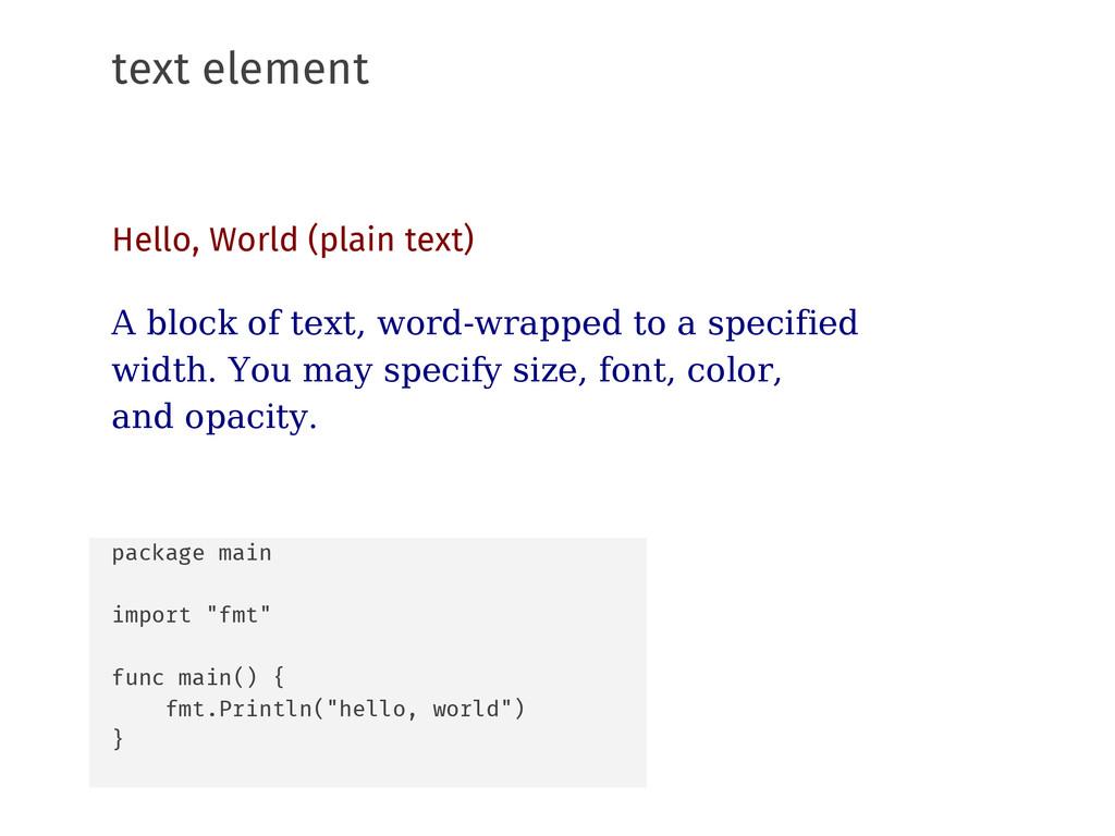 text element Hello, World (plain text) A block ...