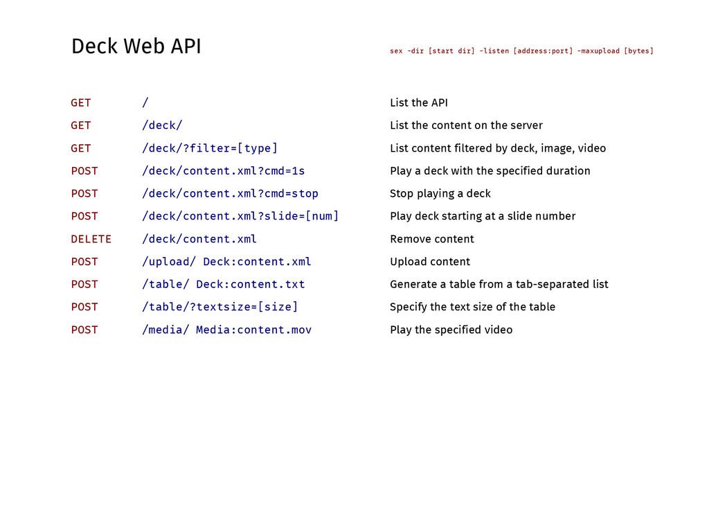 Deck Web API sex -dir [start dir] -listen [addr...