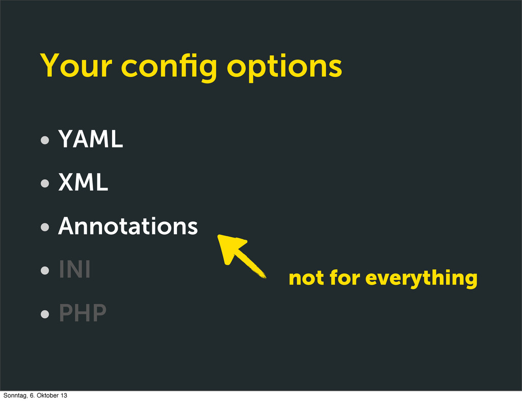 Your config options • YAML • XML • Annotations •...