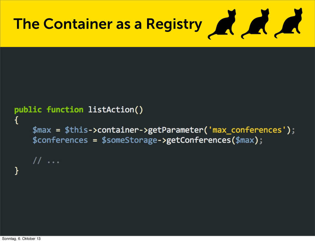The Container as a Registry Sonntag, 6. Oktober...