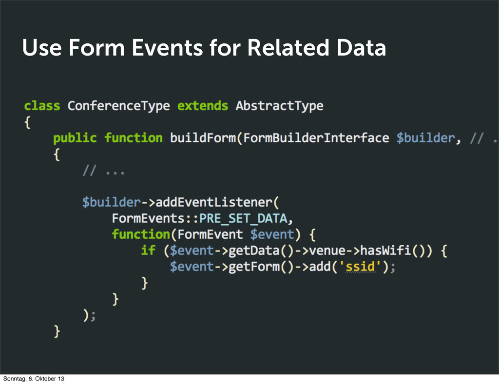 Use Form Events for Related Data Sonntag, 6. Ok...