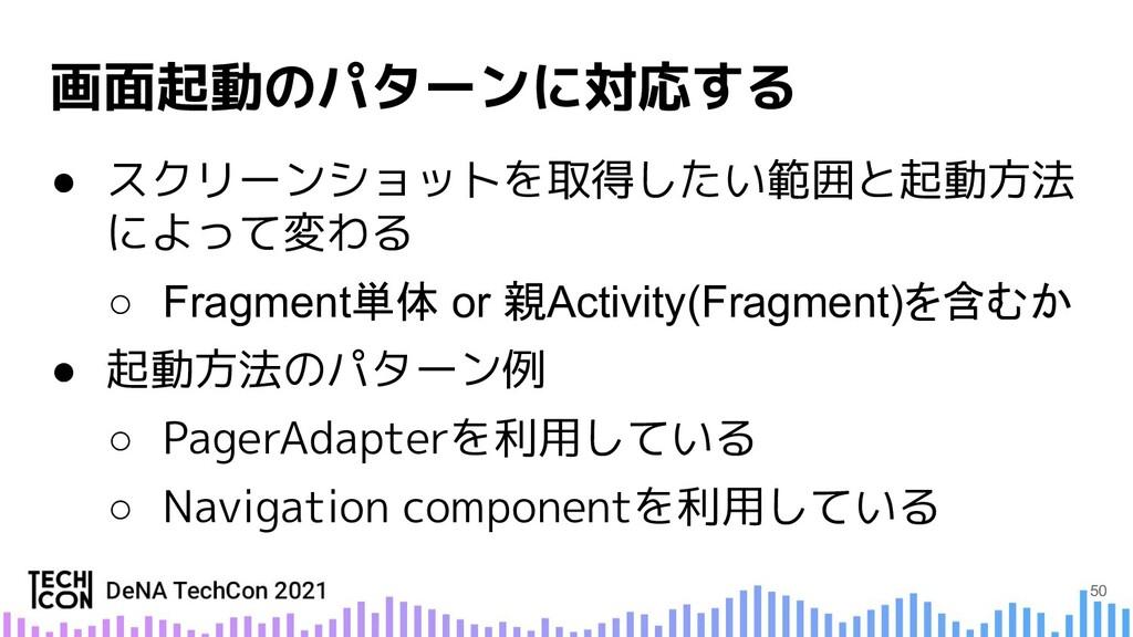● スクリーンショットを取得したい範囲と起動方法 によって変わる ○ Fragment単体 o...