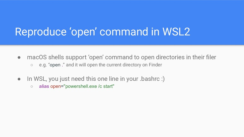 Reproduce 'open' command in WSL2 ● macOS shells...