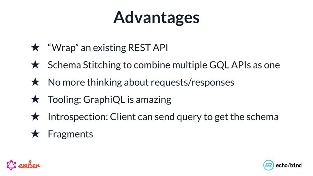 """Advantages ★ """"Wrap"""" an existing REST API ★ Sche..."""