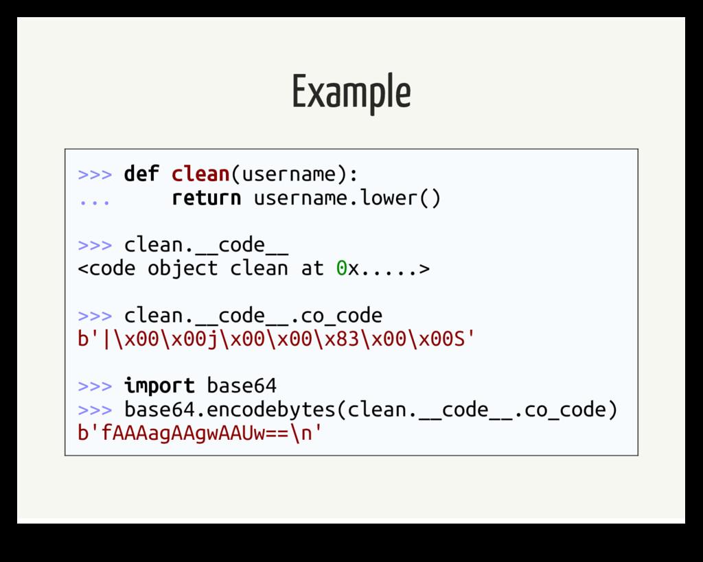 Example >>> def clean(username): ... return use...
