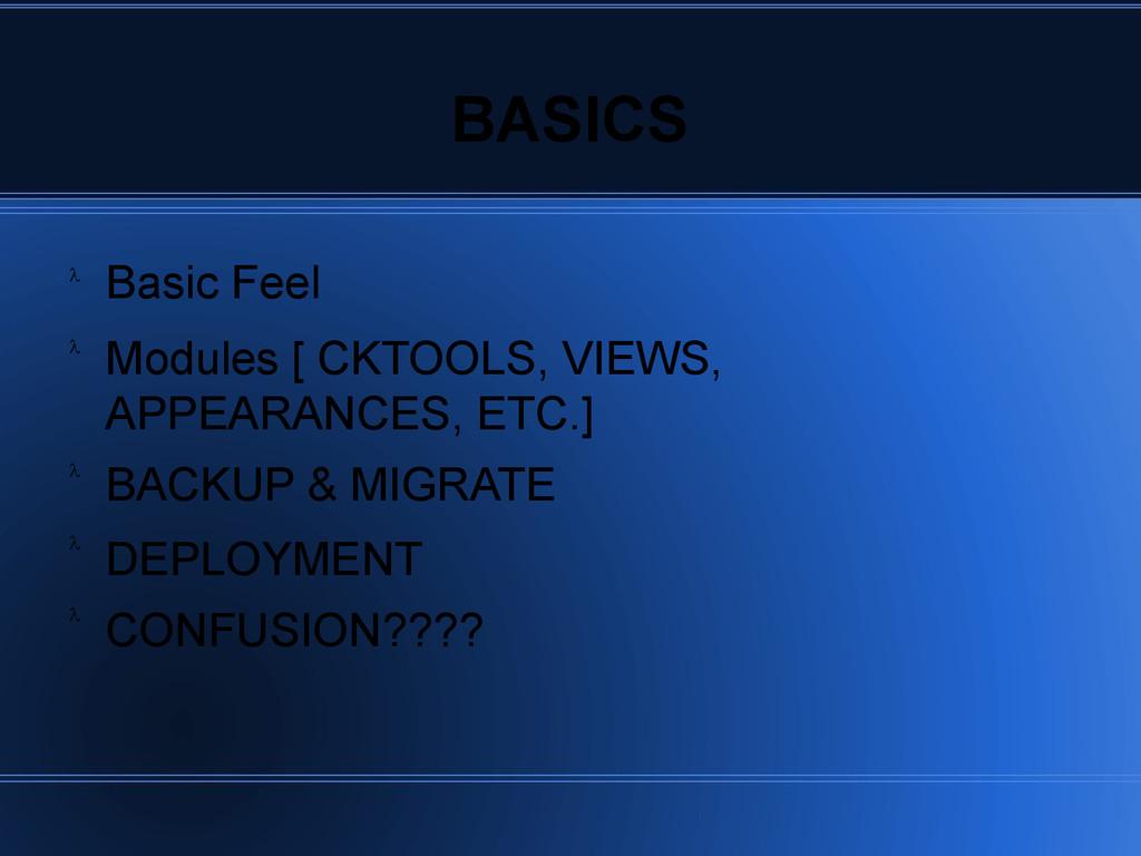 BASICS Basic Feel Modules [ CKTOOLS, VIEWS, APP...