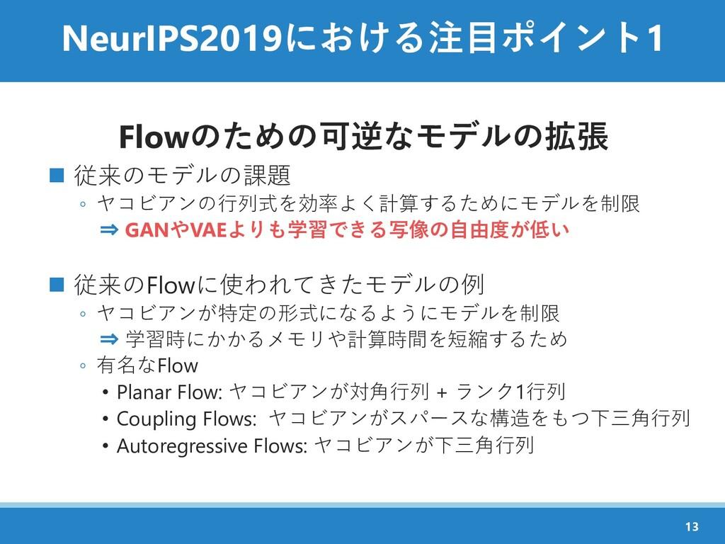 NeurIPS2019における注目ポイント1 Flowのための可逆なモデルの拡張 ◼ 従来のモ...