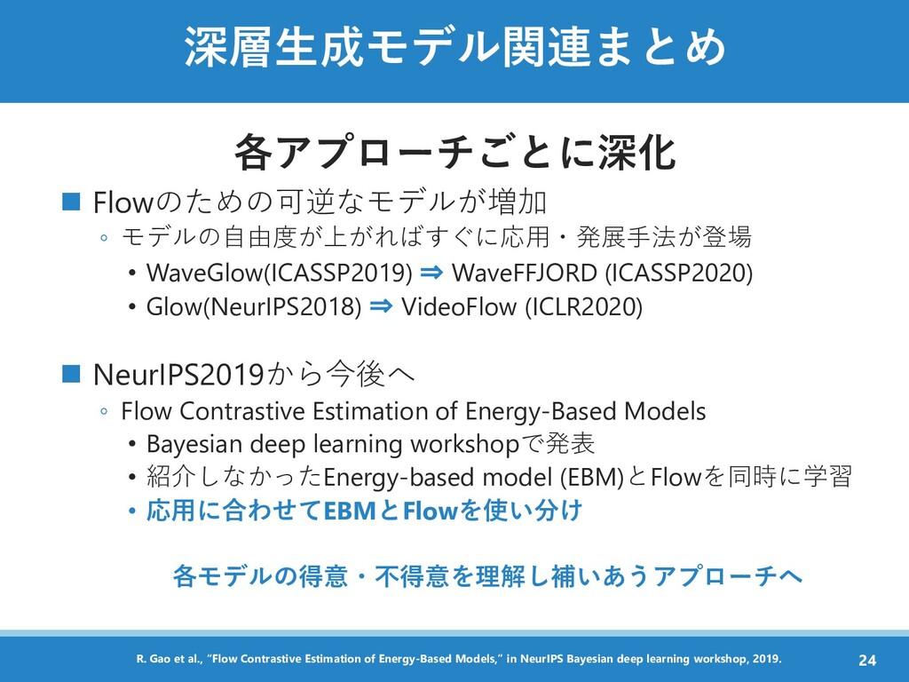 深層生成モデル関連まとめ 各アプローチごとに深化 ◼ Flowのための可逆なモデルが増加 ◦ ...