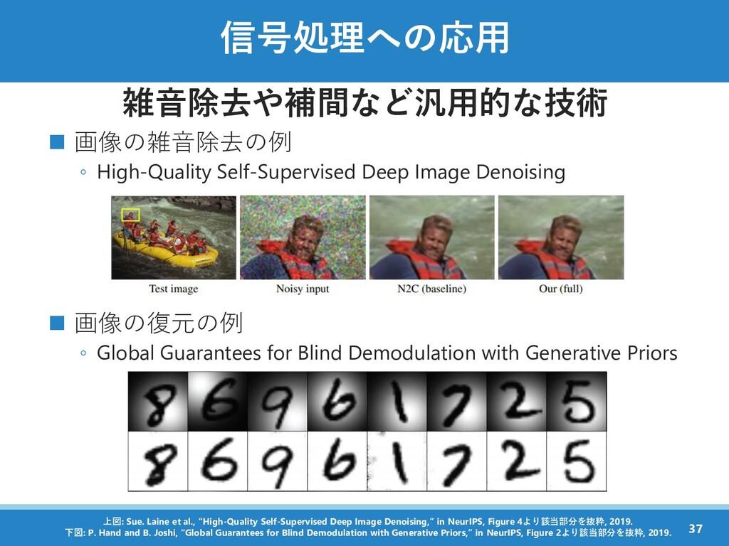 信号処理への応用 雑音除去や補間など汎用的な技術 ◼ 画像の雑音除去の例 ◦ High-Qua...
