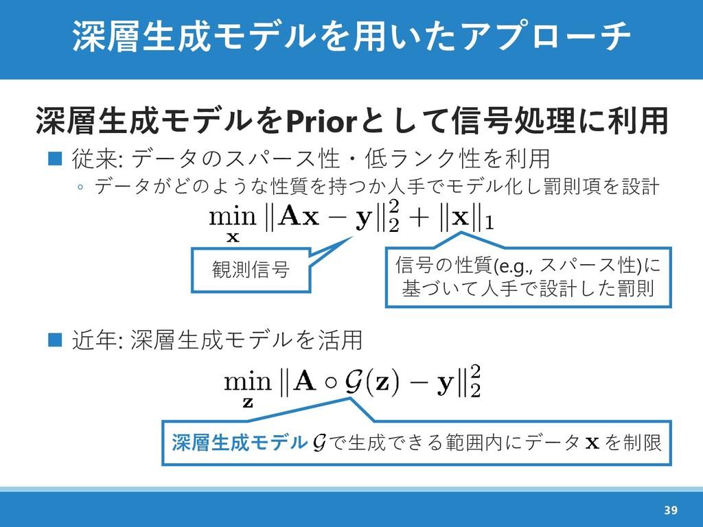 深層生成モデルを用いたアプローチ 深層生成モデルをPriorとして信号処理に利用 ◼ 従来: ...