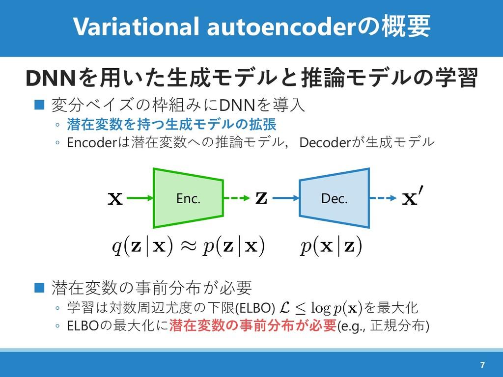 Variational autoencoderの概要 DNNを用いた生成モデルと推論モデルの学...