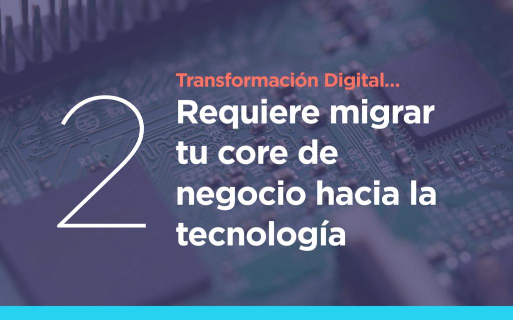 Transformación Digital… Requiere migrar tu core...