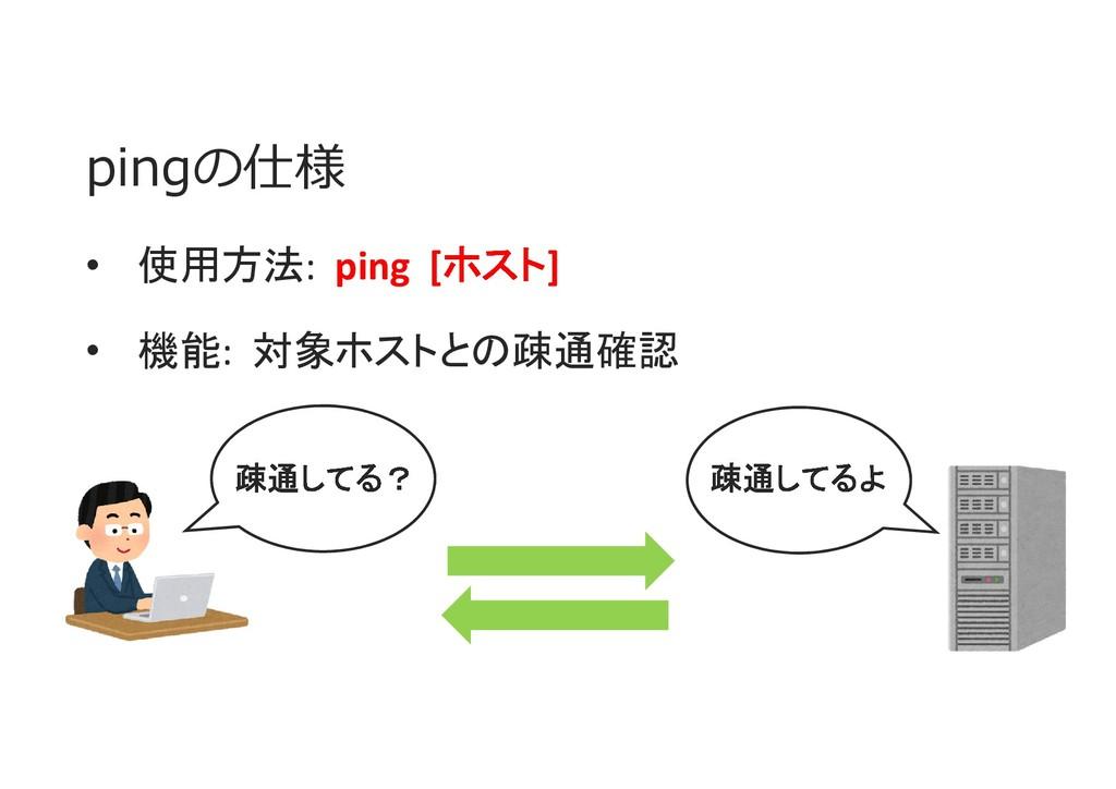 pingの仕様 • 使用方法: ping [ホスト] • 機能: 対象ホストとの疎通確認 疎通...