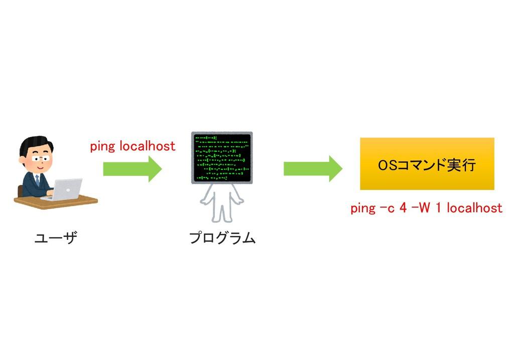 ping localhost プログラム OSコマンド実行 OSコマンド実行 ping –c ...