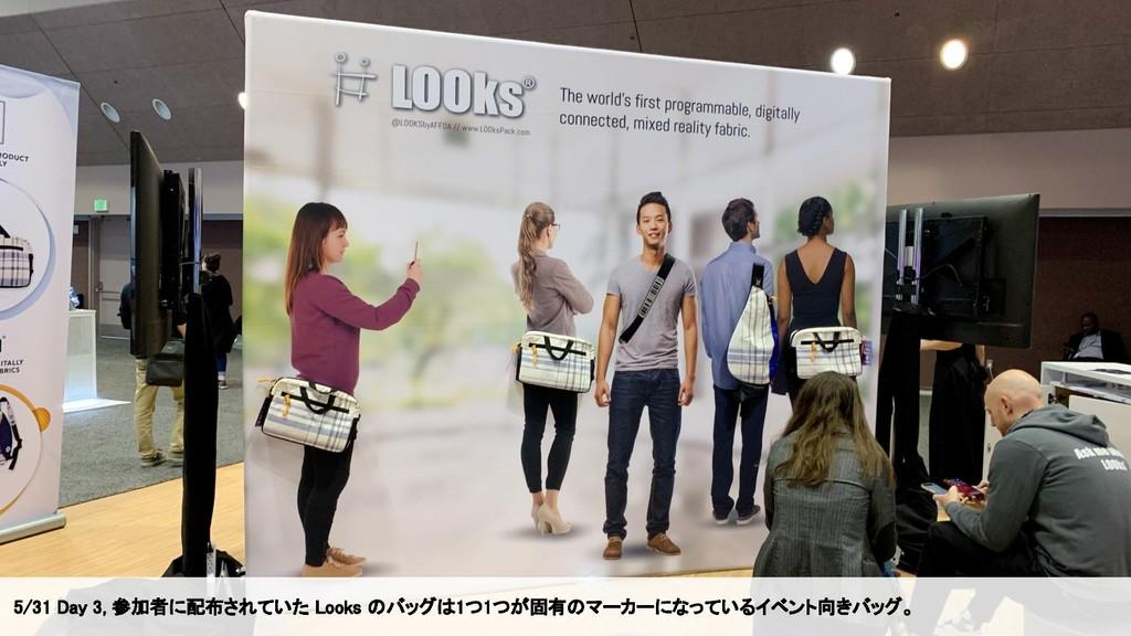 5/31 Day 3, 参加者に配布されていた Looks のバッグは1つ1つが固有のマーカー...