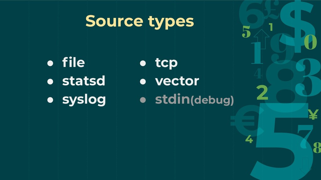 Source types ● file ● statsd ● syslog ● tcp ● ve...