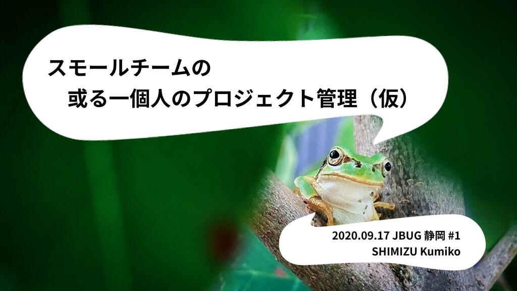 スモールチームの 或る⼀個⼈のプロジェクト管理(仮) 2020.09.17 JBUG 静岡 ...