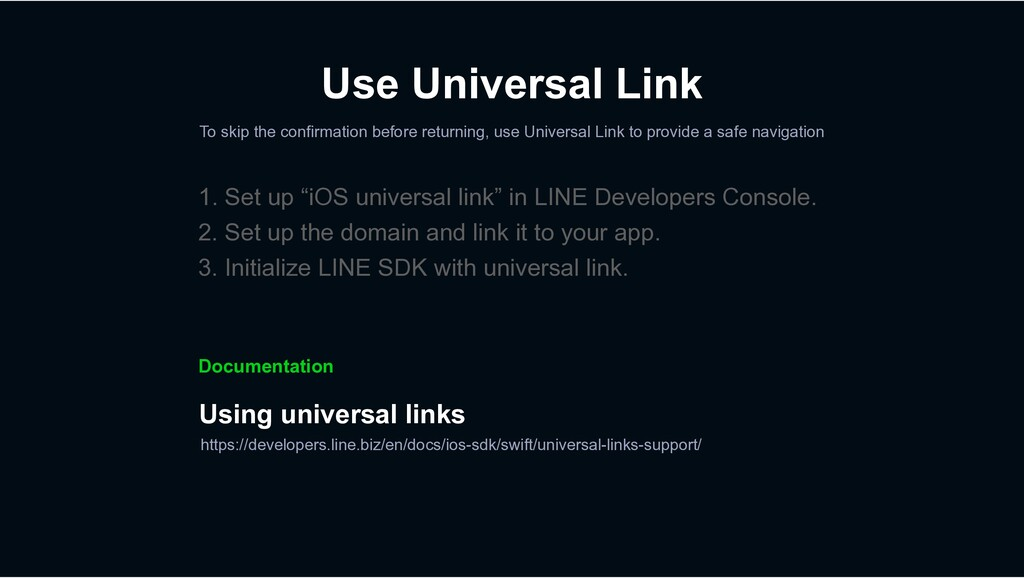Use Universal Link To skip the confirmation bef...