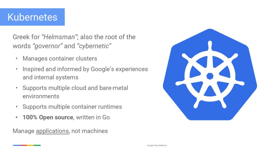 """Google Cloud Platform Kubernetes Greek for """"Hel..."""