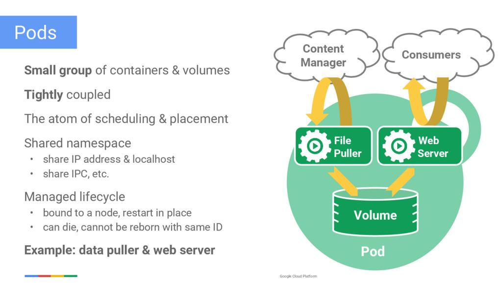 Google Cloud Platform Pods Small group of conta...