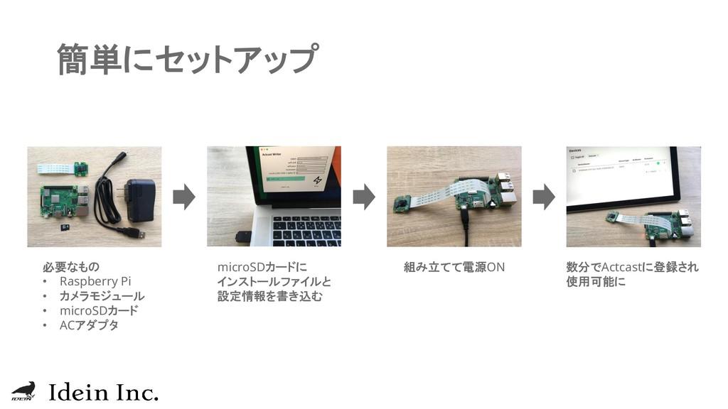簡単にセットアップ 必要なもの • Raspberry Pi • カメラモジュール • mic...